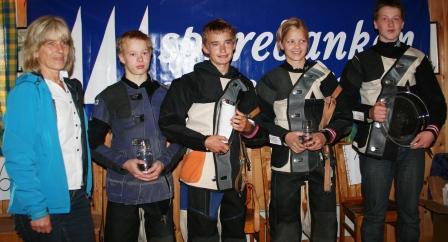 F.v. Reidun Høydal Sparebanken S&F, Mats Haugnes, Vidar Skarsbø Dale, Lovise Eiken, Jørgen Skivenesvåg