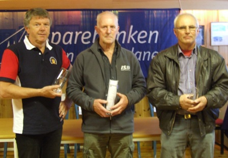 F.v. Reidar Hestetun, vinner Bjarne Sandvik og Ola Loneland
